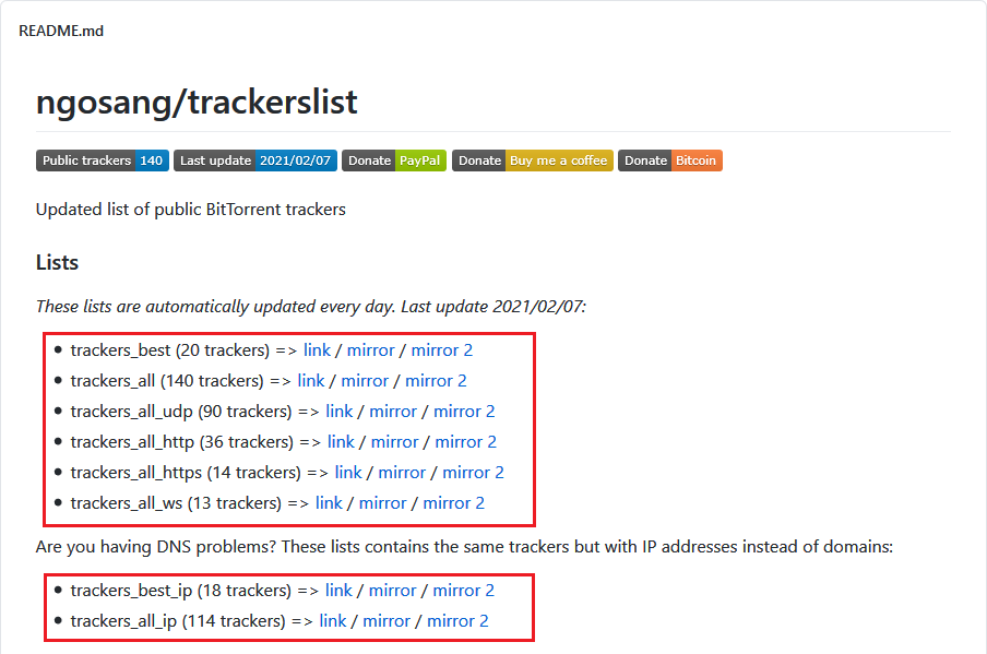 ngosang/trackerlist 页面截图